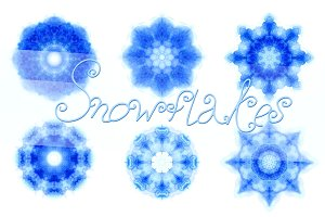 14 watercolor snowflakes