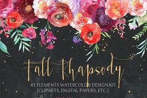 Floral cliparts digital papers. Rose