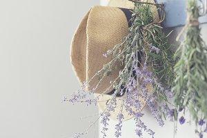 Hanging sage, rosemary, lavender