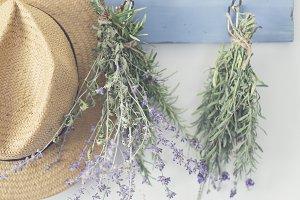 Hat & flowers, herbs on hooks