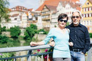 Senior Couple Enjoying Their Trip To Tuebingen, Germany