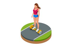 Isometric girl riding on hover board or gyroscooter outdoors in summer. Active life concept. Most popular gadget of the year. Alternative Eco Transport Self-balancing electric scooter.