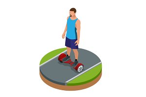 Isometric man riding on hover board or gyroscooter outdoors in summer. Active life concept. Most popular gadget of the year. Alternative Eco Transport Self-balancing electric scooter.