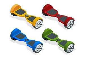 Isometric hoverboard or Gyroscooter. Set of vector illustrations. Self-balancing electric scooter. Alternative Eco Transport isolated on background Most popular gadget of the year. Active life concept
