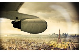 Travel By Plane To Paris, View On Eiffel
