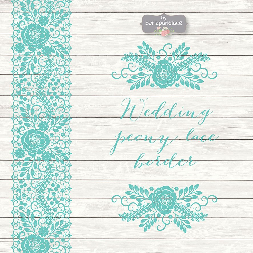 Vector wedding peony lace border illustrations creative market stopboris Images