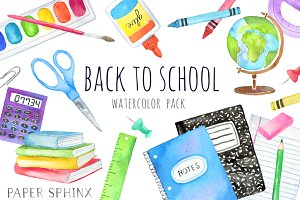Watercolor School Supplies Art Pack