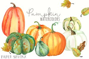 Watercolor Fall Pumpkins Pack