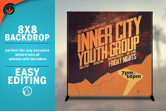 Youth Group 8x8 Event Backdrop in Templates