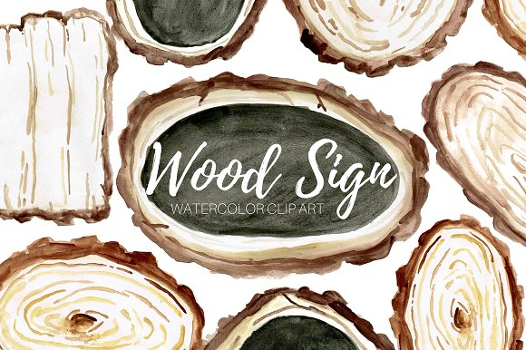Wooden Tree Signs Clip Art