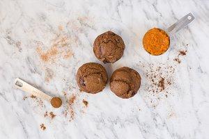 Muffins Flatlay Stock Photo