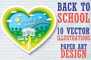 Set Back to School. Paper art design