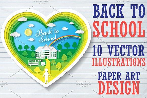 Set Back To School Paper Art Design