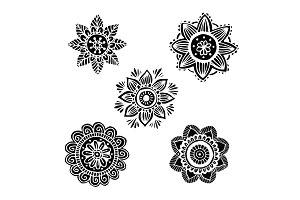 Flower mandala set in hand drawn style