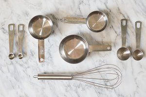 Baking Tools Flatlay Stock Photo