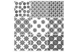 Flower mandala seamless pattern set in hand drawn style