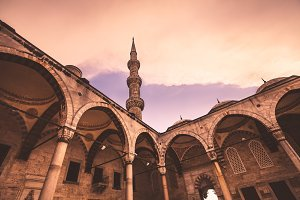 View of the famous Blue Mosque Sultan Ahmet Cami
