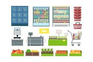 Set of Supermarket Furniture and Equipment Vector.