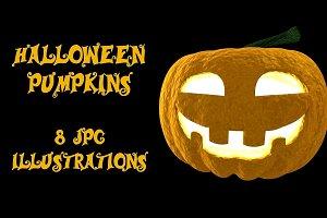 Halloween 3D pumpkins set