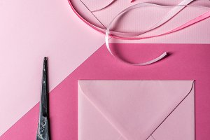 Pink square envelope