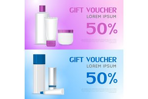 Gift Voucher Cosmetic Template. Certificate Coupon