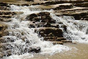 Rapid mountain stream close-up