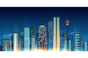 Night city skyline illustration