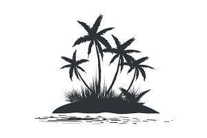 Island with palm trees silhouette