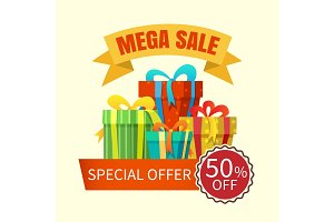 Mega sale banner with gift boxes