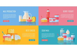 Traditional Dairy Products Banners Set