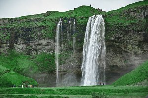 famous Seljalandsfoss waterfall in southern Iceland