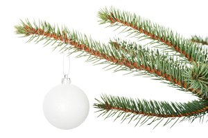 One separated christmas ball handing on a twig.