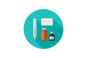 Pills flat icon.