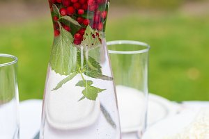 Glass carafe with water mint berry