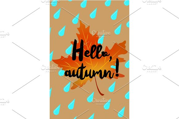 Hello autumn poster with drops of rain and fallen leaf in Illustrations