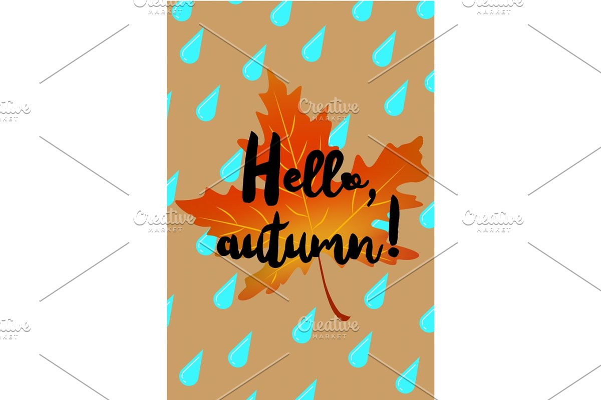 Hello autumn poster with drops of rain and fallen leaf in Illustrations - product preview 8