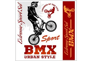 BMX t-shirt Graphics. Extreme bike street style - Vector BMX cyclyst