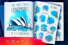 12 Famous Landmarks in Vector