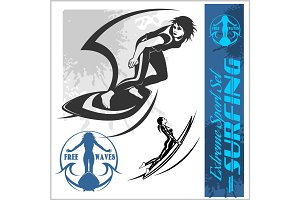 beauty girl surfing - vector set