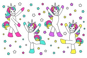 Cute childish cartoon characters as magic rainbow hair unicorn