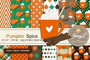 Pumpkin Spice Digital Papers Clipart