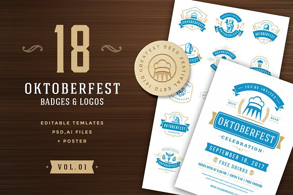 Oktoberfest badges and log-Graphicriver中文最全的素材分享平台