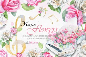 Music clipart. Floral paper clipart