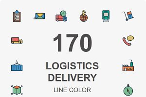 Logistic Delivery line color icons