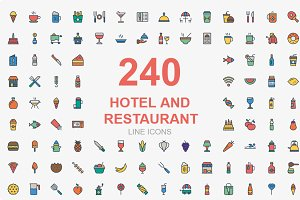 240 Hotel and Restaurant icons