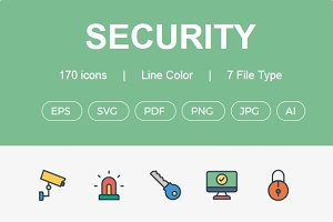 170+ Security line color icons