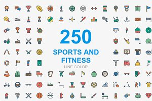 Sports and Fitness line color icons