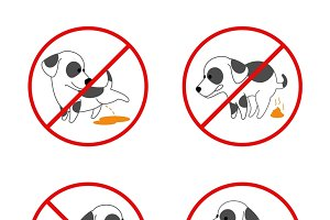 Set of banned signs for animal