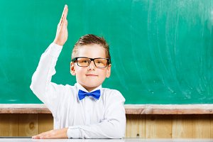 Happy pupil raising hand against chalkboard