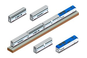 Isometric vector two-story long-distance passenger train closeup